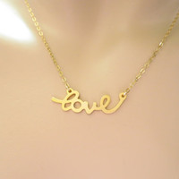Love script necklace, love necklace, script necklace, gold necklace, goldfilled jewelry, goldfilled necklace, gift necklace, simple, modern