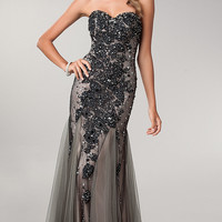 Strapless Sweetheart Floor Length Lace Embellished Dress