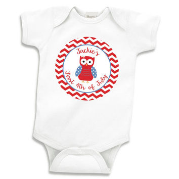 First 4th of July Shirt Cute Patriotic Owl Personalized Baby Girl My First 4th of July Bodysuit Independence Day Shirt 037