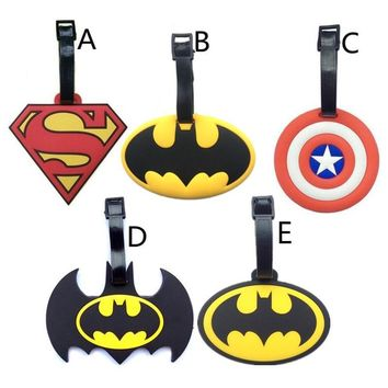 Batman Dark Knight gift Christmas 2018 New Batman Superman Luggage Tags Captain America Silicone Girls Suitcase Handbag Label PVC Marvel Heroes Travel Accessories AT_71_6
