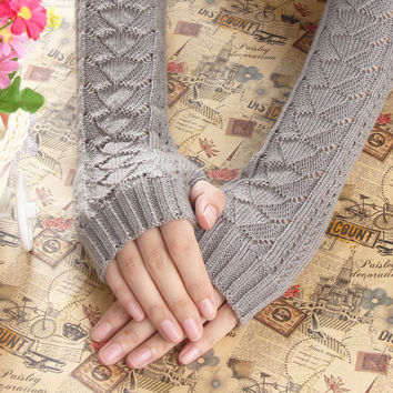 Lovely Fingerless Crochet Long Winter Gloves