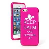 Apple iPhone 5 5S Hot Pink Rubber Hard Case Snap on 2 piece Keep Calm and Cowgirl Up