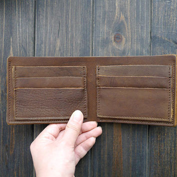Free Engraving , Mens Brown Slim Crazy Horse Leather Wallet , Minimalist Bifold Leather Wallet , Monogrammed Engraved Leather Wallet