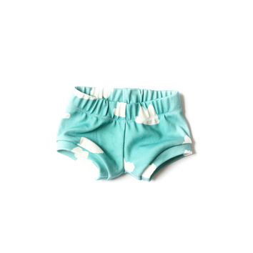 Organic Baby Shorties in Tiffany Clouds