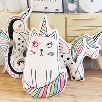 New 23*55cm Unicorn cat  ice cream rainbow pillow colorful   lovely room decoration comfort the sleeping baby girl cushion
