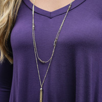 Charmed Life Layered Necklace With Fringe & Bead Detail