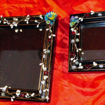 Wooden Framed Mirrors-Hand Designed Mirrors-Wall Decor-Cottage Chic-Home Decor-Up Cycled Pencil Shaving Flowers