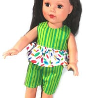 American Girl Doll Clothes, 18 in Doll, green ruffled top and shorts, outfit