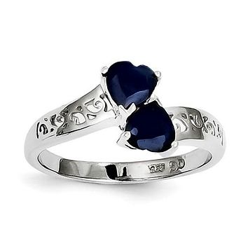 Sterling Silver Double Genuine Dark Blue Sapphire Heart Filigree 2-Stone Ring