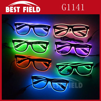El Wire Glow Sun Glasses Led DJ Bright Light Safety Light Up Multicolor Frame Voice control led flashing glasses