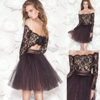Beautiful 2016 Girls' Homecoming Dress Bateau Neck Bow at Back Long Sleeve Short Mini Appliqued Tulle 2017 Cocktail Dress