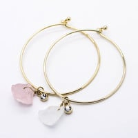 Crystal stone bangle bracelet