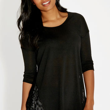 tunic top with lace sides and shark bite hem in black