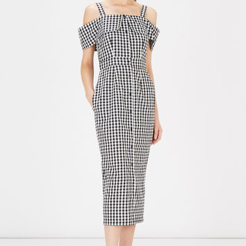 Dresses | Black Gingham Off Shoulder Dress | Warehouse