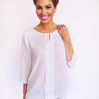 White 3/4th Sleeve Blouse