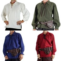 Autumn Fashion Long Sleeve Shirt Cool Men Lace Up Medieval Steampunk Shirt Tops Tee