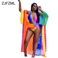 ZJFZML Color Block Sexy 2 Two Piece Set Women Deep V Neck Sheath One Piece Bodysuit+Full Sleeve X-Long Coat Summer Beach Outfit