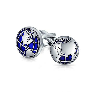 Globe World Map Blue Round Cuff s Shirt Cuff s Silver Tone Steel