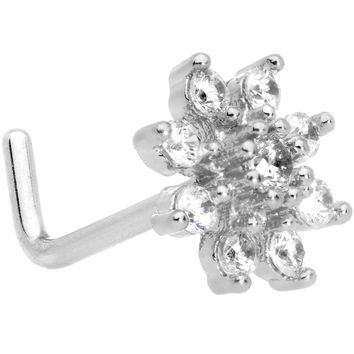 "20 Gauge 1/4"" Clear CZ Gem Flower L Shaped Nose Ring"