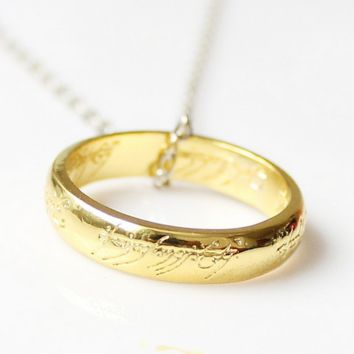 Limited Edition Gold Plated Lord Of The Rings Ring Pendant Chain