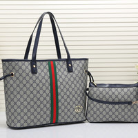 Gucci Women Leather Shopping Shoulder Bag Tote Satchel Handbag Set Two-Piece