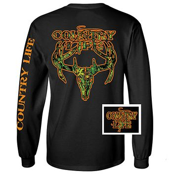 Country Life Outfitters Black & Orange Camo Realtree Deer Skull Head Hunt Vintage Unisex Long Sleeve Bright T Shirt