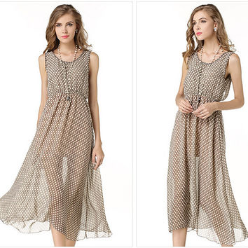 Beige Polka Dot Sleeveless Chiffon Maxi Dress