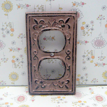 Fleur de lis Cast Iron FDL Plug Plate Cover Single Wall Shabby Chic Distressed Rustic French Decor FDL Dusty Rose Blush
