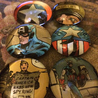 6 glass Captain America magnets made from real comic book pages. ONE OF A KIND so purchase now! Super Hero fans will love this!