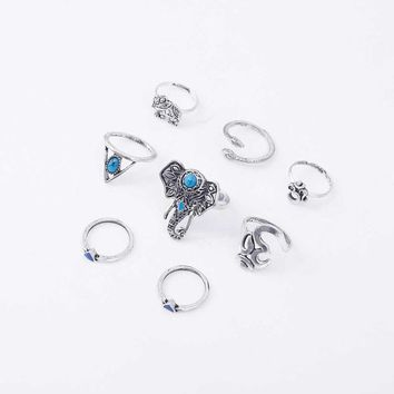 8pcs /Pack Boho Retro Elephant Snake Blue gem Rings Lucky Stackable Midi Rings Set of Rings for Women Party
