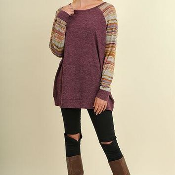 Umgee A line top with stripe and multi color sleeves S M L