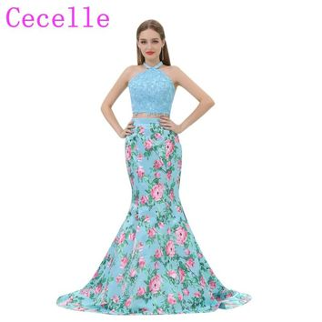 2018 Blue Floral Print Long Prom Dresses 2 Pieces Mermaid Lace Top Halter Colorful Teens Prom Party Dress Custom Evening Gown