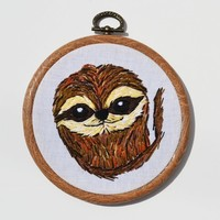Hand Embroidery Sloth Hoop Wall Art