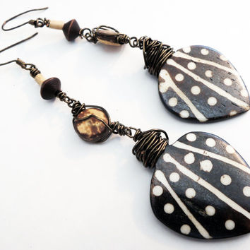 Brown Wooden Boho Chic Dangle Earrings Handmade by Lindsey - Wire Wrapped - One of a Kind - Tribal Earrings - Wooden Pendant Earrings