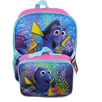 "Disney Pixar Finding Dory 16"" Canvas Blue Backpack w/Detachable Lunch Bag"