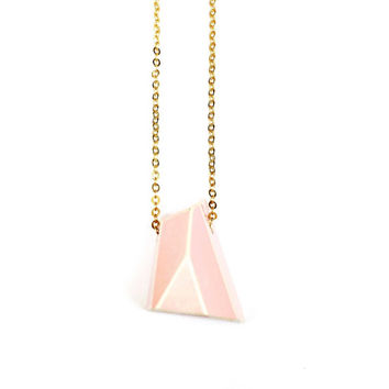 Baby Pink Geometric Necklace 1 - Geometric Jewelry, Geometric Jewellery, Faceted Necklace, Pink Jewelry, Clay Jewelry
