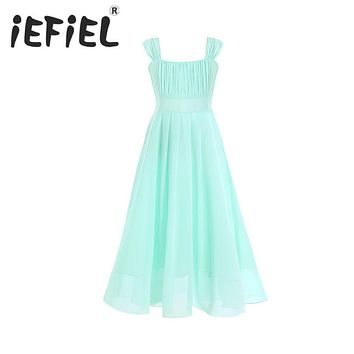 iEFiEL Fashion Flower Girl Dress Formal Party Wedding Princess Tulle Dresses2017 Summer Dresses Girl Pageant Clothes Size 4-14