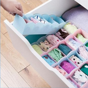 HOEN 5 Cell Plastic Underwear Bras Sock Ties Organizer Storage Box Desk Drawer Closet