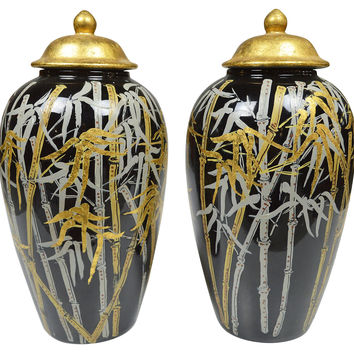 Hand-Painted Chinoiserie Jars