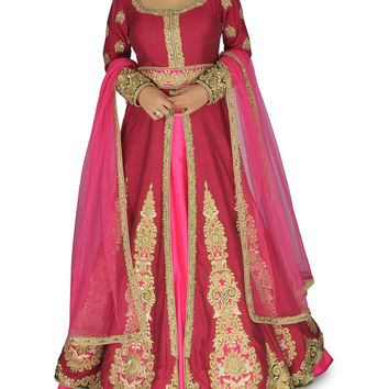 Wine Pink color Bridal lehenga choli