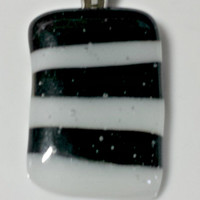 Fused glass striped pendant - black and white striped necklace pendant - silver bail - fused glass necklace - fused glass jewelry