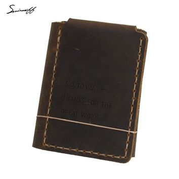 Smirnof Vintage Leather Men Purse The Secret Life Of Walter Mitty Retro Wallet Custom LOGO Handmade Genuine Leather Wallet Male