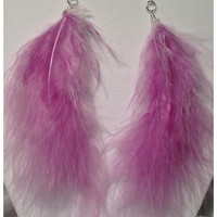 "Marabou Feather Earrings/orchid/Feather Earrings/Marabou Earrings/Fluff Earrings 6"" PURPLE ORCHID"