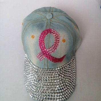 Breast Cancer Awareness baseball cap rhinestone