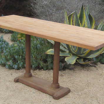 Vintage iron base with new butcher block table top