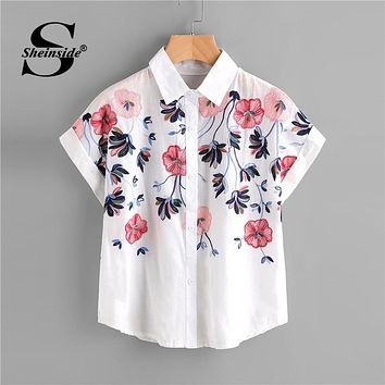 Sheinside White Floral Embroidery Shirt Women Roll Up Sleeve Button Top 2018 Summer Short Sleeve Office Work Wear Elegant Blouse
