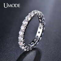UMODE Wedding 3mm 0.1 Carat Round CZ White Gold Plated Simulated Diamond Eternity Ring Bands New Jewelry for Women Bague UR0279