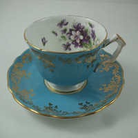 Aynsley Turquoise / Aqua Gold Gilt Footed Tea Cup Saucer Numbered 2917