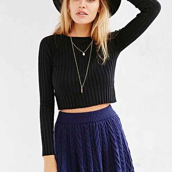 KNITZ By For Love & Lemons Back To Basics Cropped Sweater- Black