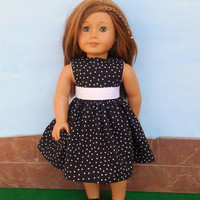 18 Inch Doll Clothes, Doll Dress, Black Polka Dot Doll Dress, Sleeveless Summer Doll Dress, Summer Doll Clothes